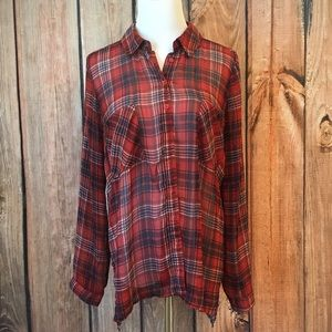 Band of Gypsies Sheer High Low Plaid Red Blue Med